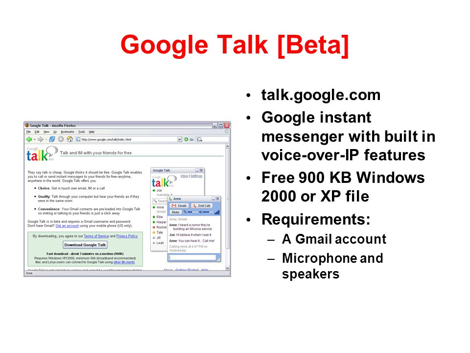 Google Talk [Beta] talk.google.com